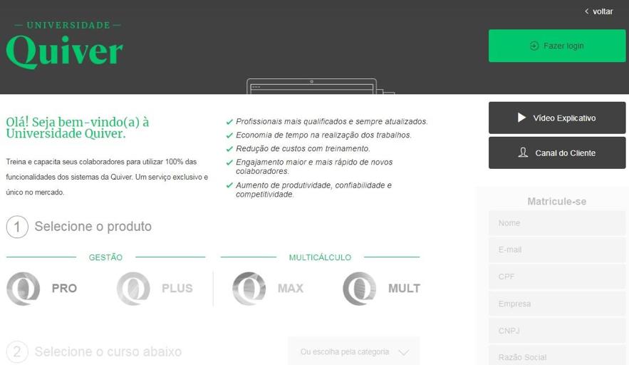 Na página de acesso à Universidade Quiver o colaborador pode realizar a matrícula e encontrar os cursos disponíveis.
