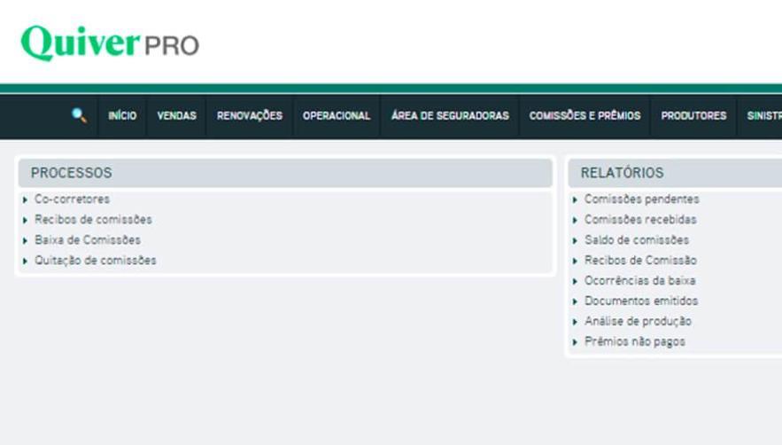 Acesso à página de co-corretagem no sistema Quiver PRO