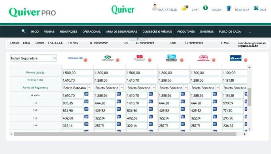 No painel de vendas de Quiver PRO você consegue acompanhar os negócios em andamento e registrar toda a negociação.