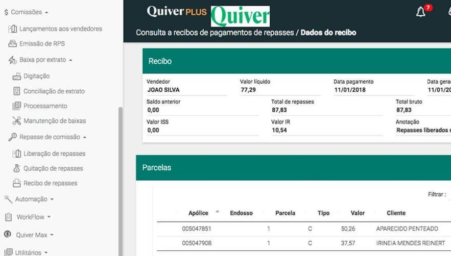 Painel de controle de comissões do Quiver PLUS.