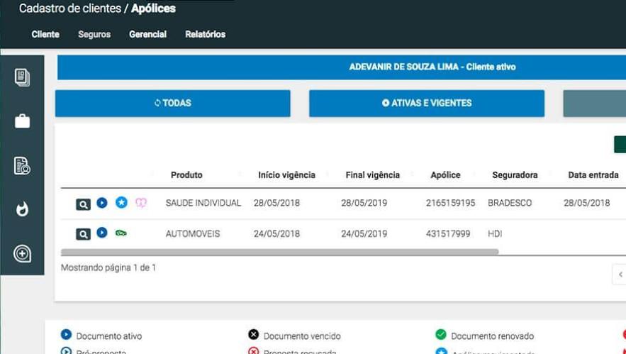 No Quiver PLUS, além de cadastrar os dados do cliente você consegue ter acesso ao histórico de apólices, negociações e sinistros dele.