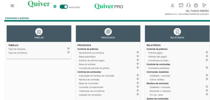 Quiver PRO oferece um painel completo para você controlar comissões e prêmios da sua corretora.