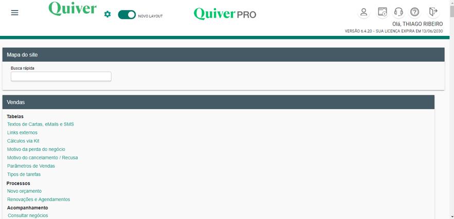 Tela do mapa do site: usuário digita uma palavra e o sistema rastreia a opção que ela aparece.