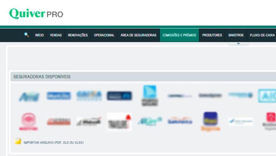 Painel do Quiver PRO para importação de documentos de seguradoras